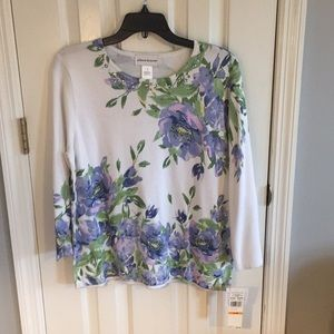 Alfred Dunner floral sweater size S